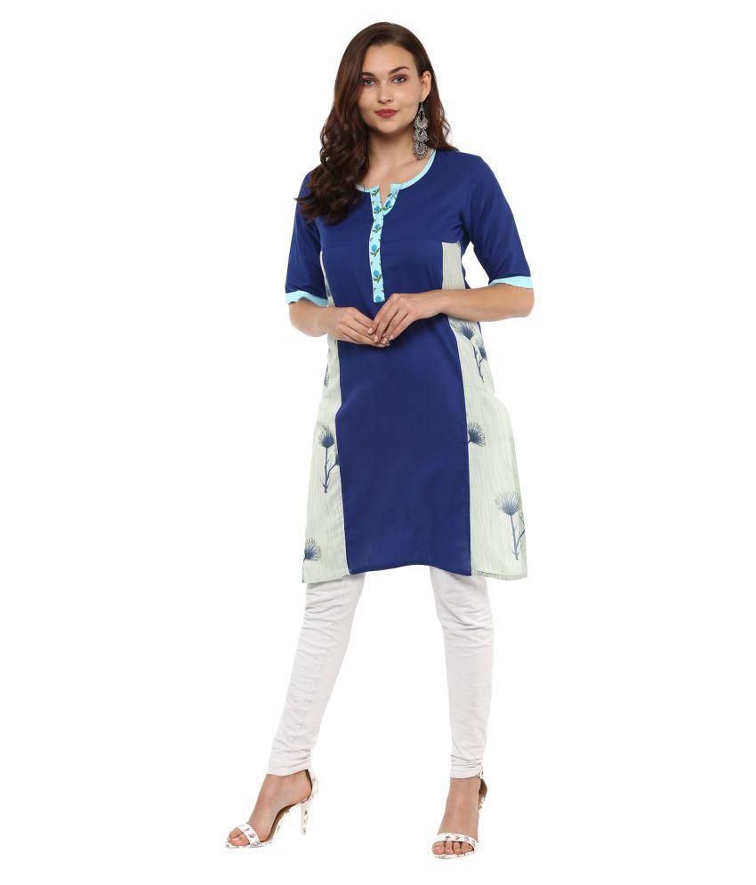 Rangeelo Rajasthan Blue Cotton Straight Kurti