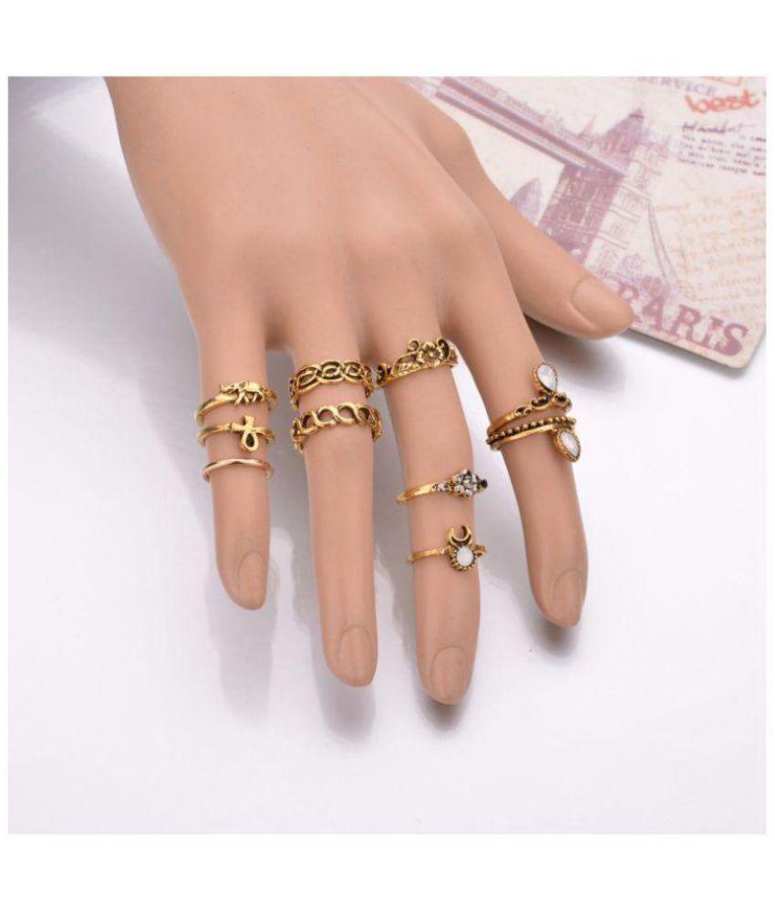f985658d090 Stripes Gold Midi Finger Ring Set-10 Piece