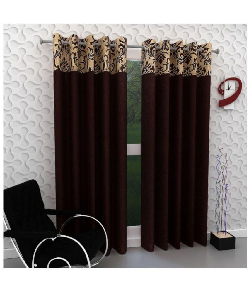 Tanishka Fabs Set of 4 Window Semi-Transparent Eyelet Polyester Curtains Brown