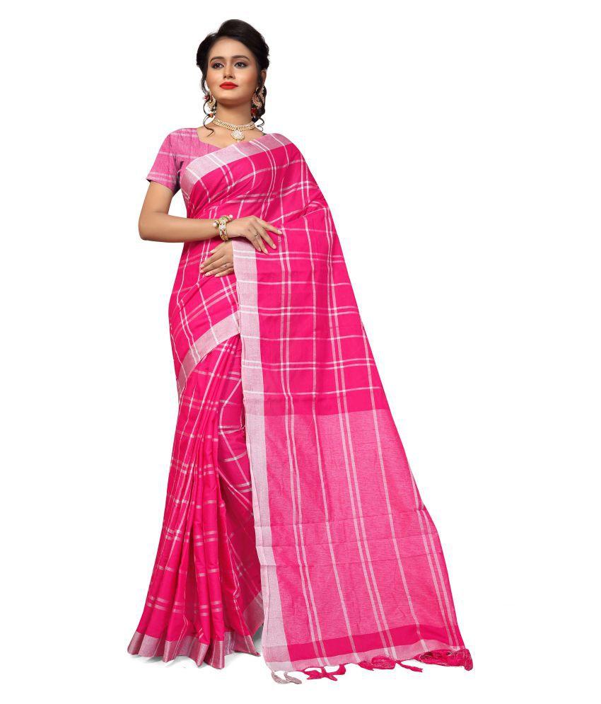 Manvaa Pink Cotton Saree