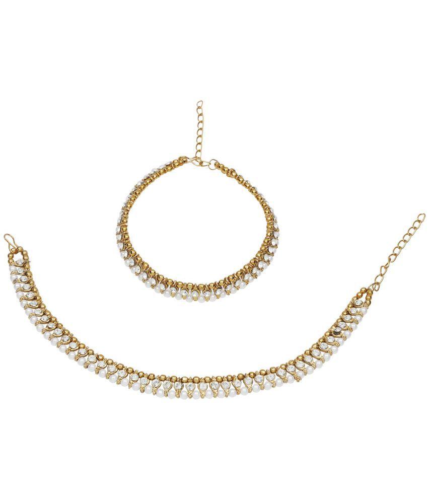 Efulgenz Fashion Stylish Traditional Gold Plated Crystal Pearl Wedding Wear Anklets Payal Jewellery