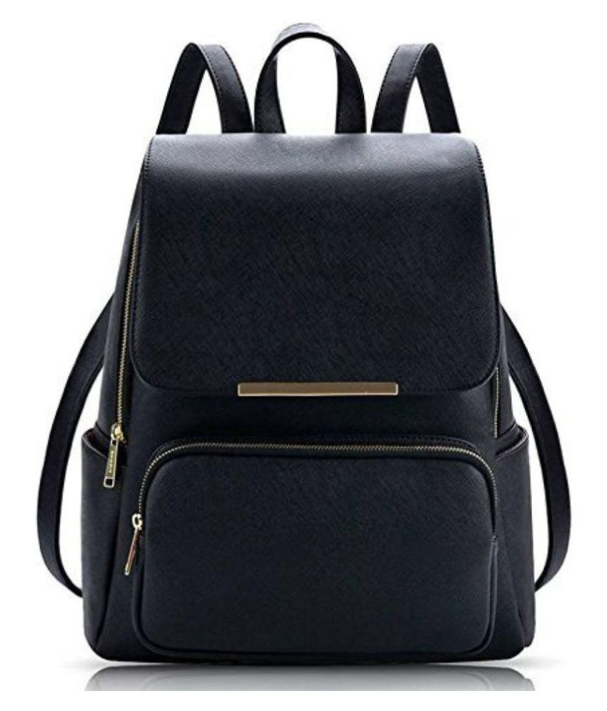 Ayeshu Black Faux Leather Backpack