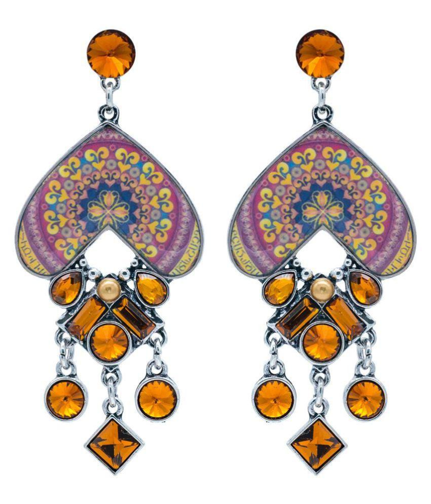 Kiyara Accessories Heart shaped dangle and drop Enamel designer earrings with glass stones for Girls and Women. (Brown)