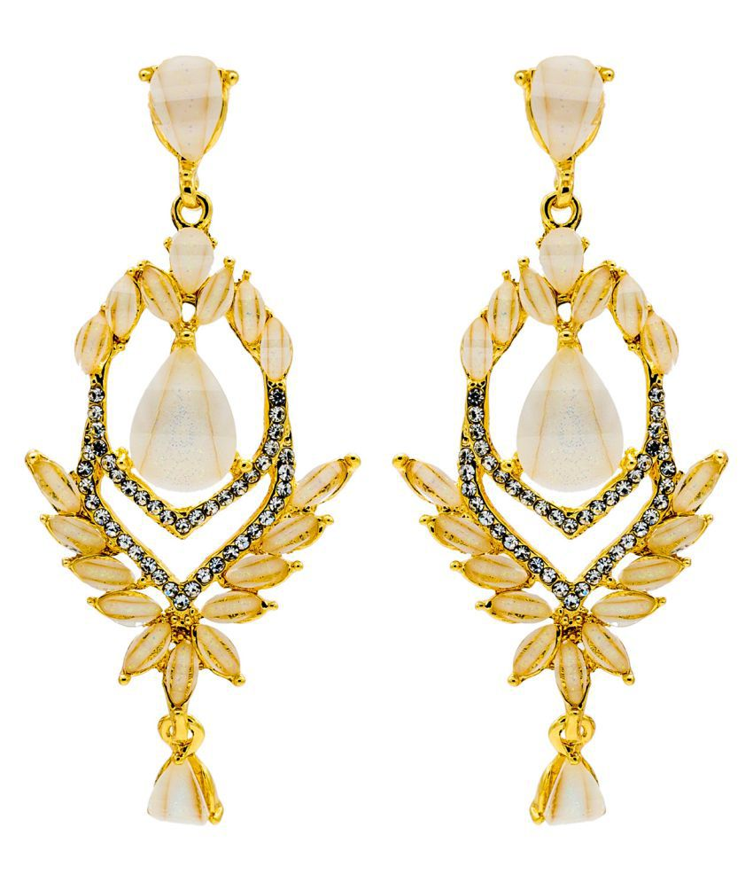 Kiyara Accessories traditional earring set with ice glass bead diamond studded dangle and drop earring in gold plating for girls and women.