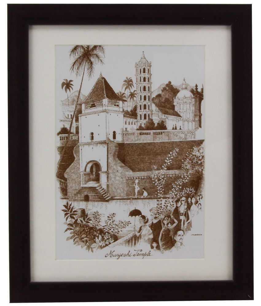 The Home MARIO DE MIRANDA MANGESHI TEMPLE-PC8 PAINTING BROWN COLOUR Wood Painting With Frame