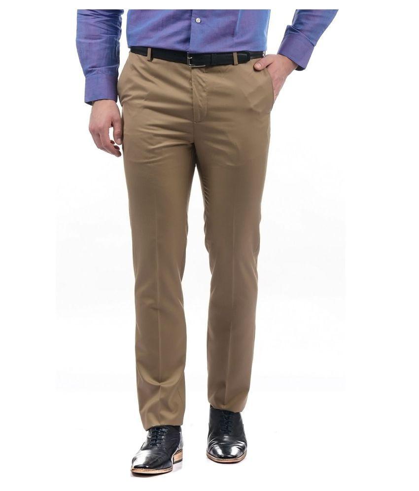 Arrow Brown Regular -Fit Flat Trousers