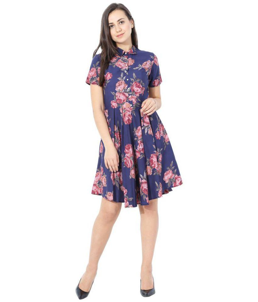 Mermaid Ocean Poly Crepe Blue A- line Dress