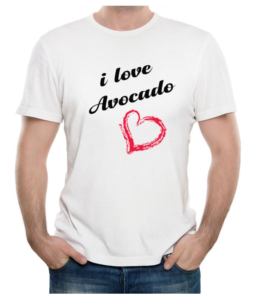 Ritzees Unisex Half Sleeve Dry Fit White Polyester T-Shirt on I Love Avocado