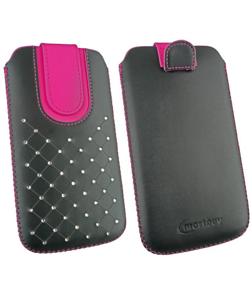 Celkon Millennia Epic Q550 Flip Cover by Emartbuy - Multi (Magnetic Pouch - 3XL) Black/Hot Pink Gem Studded