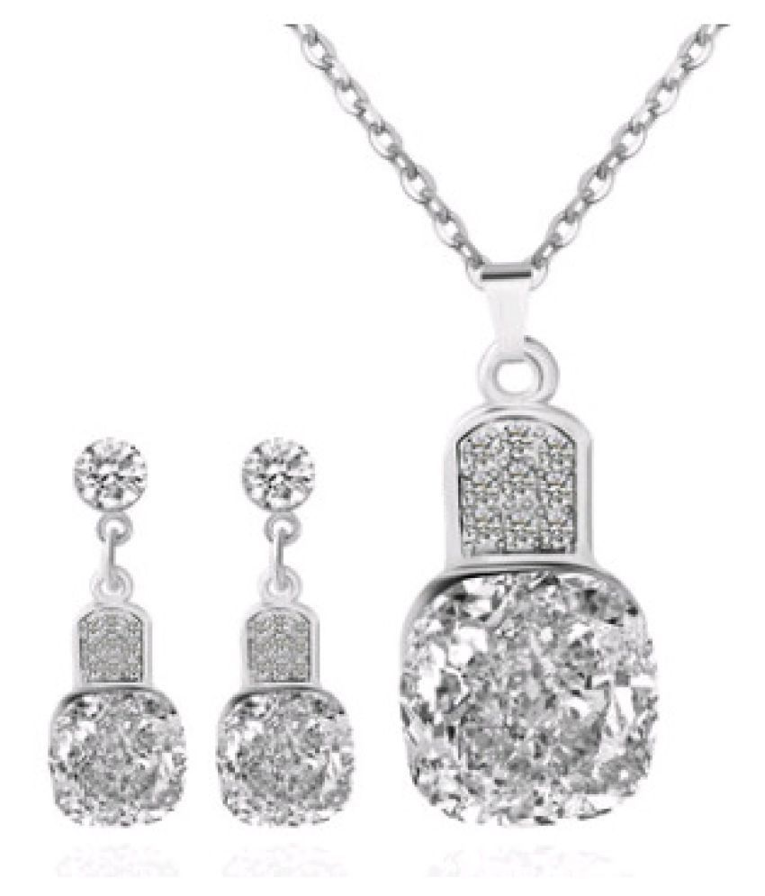 Levaso Fashion Earrings Ear Studs Alloy Crystal Necklace Pendant Jewelry Set Multi Color
