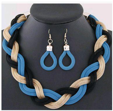Levaso Fashion Earrings Ear Studs Alloy Bohemia Necklace Pendant Jewelry Set Multi Color
