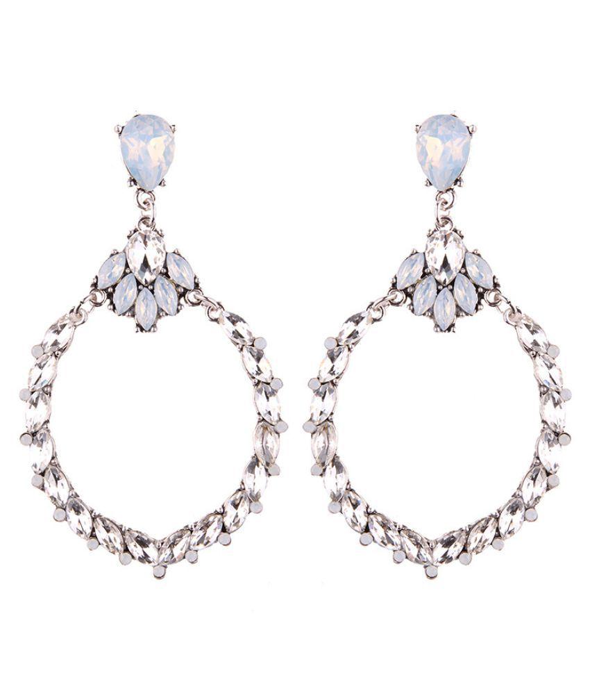 Levaso Fashion Earrings Ear Studs Alloy Crystal Jewelry White