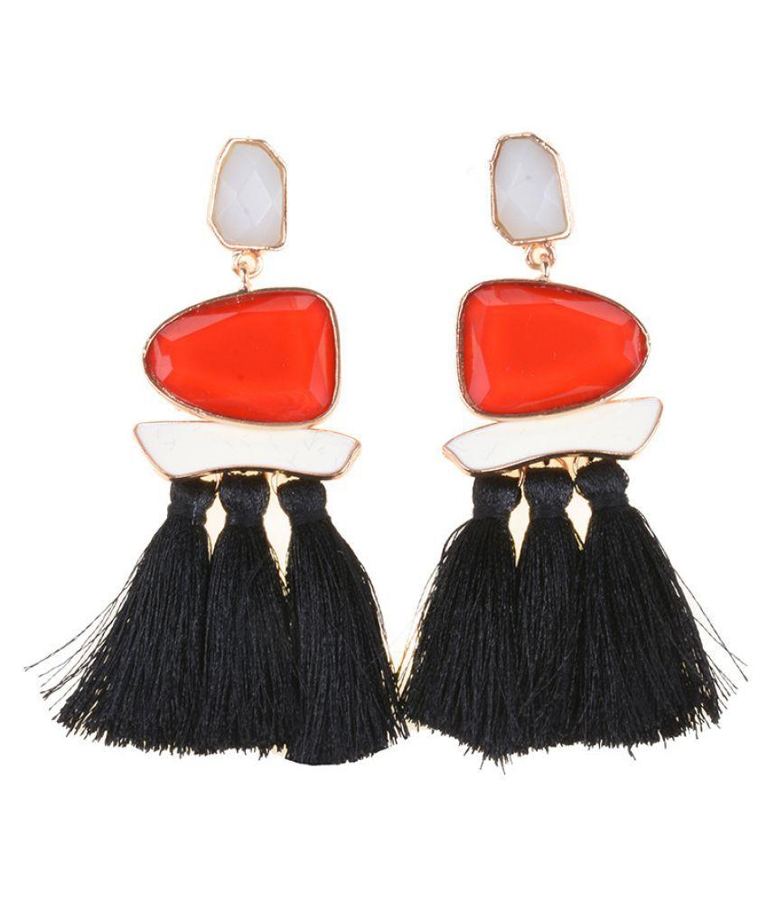 Levaso Fashion Earrings Ear Studs Woolen Tassels Jewelry Black