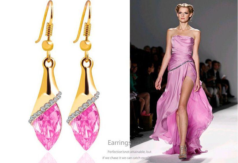 Levaso Fashion Earrings Ear Studs Alloy Crystal Jewelry Multi Color