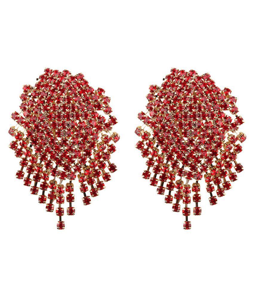 Levaso Fashion Earrings Ear Studs Alloy Diamond Jewelry Red