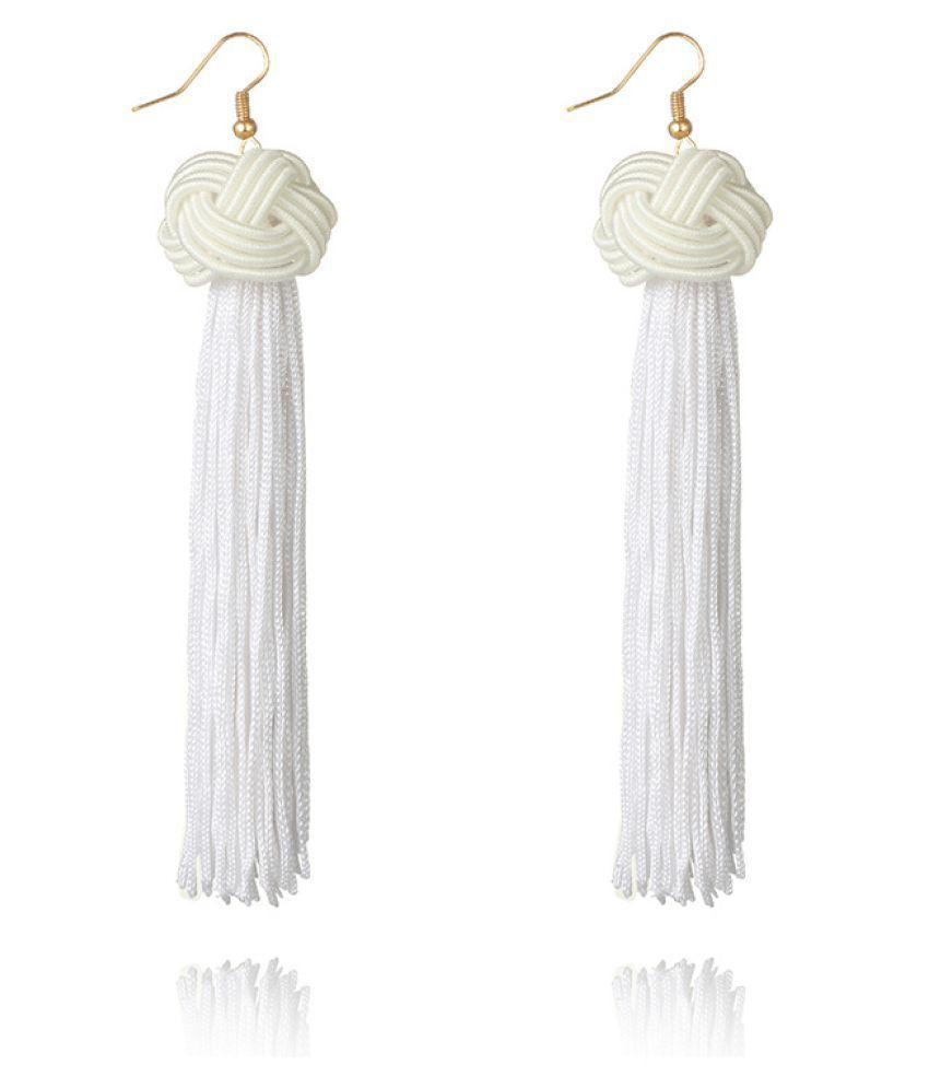 Levaso Fashion Earrings Ear Studs Bohemia Tassels Jewelry White