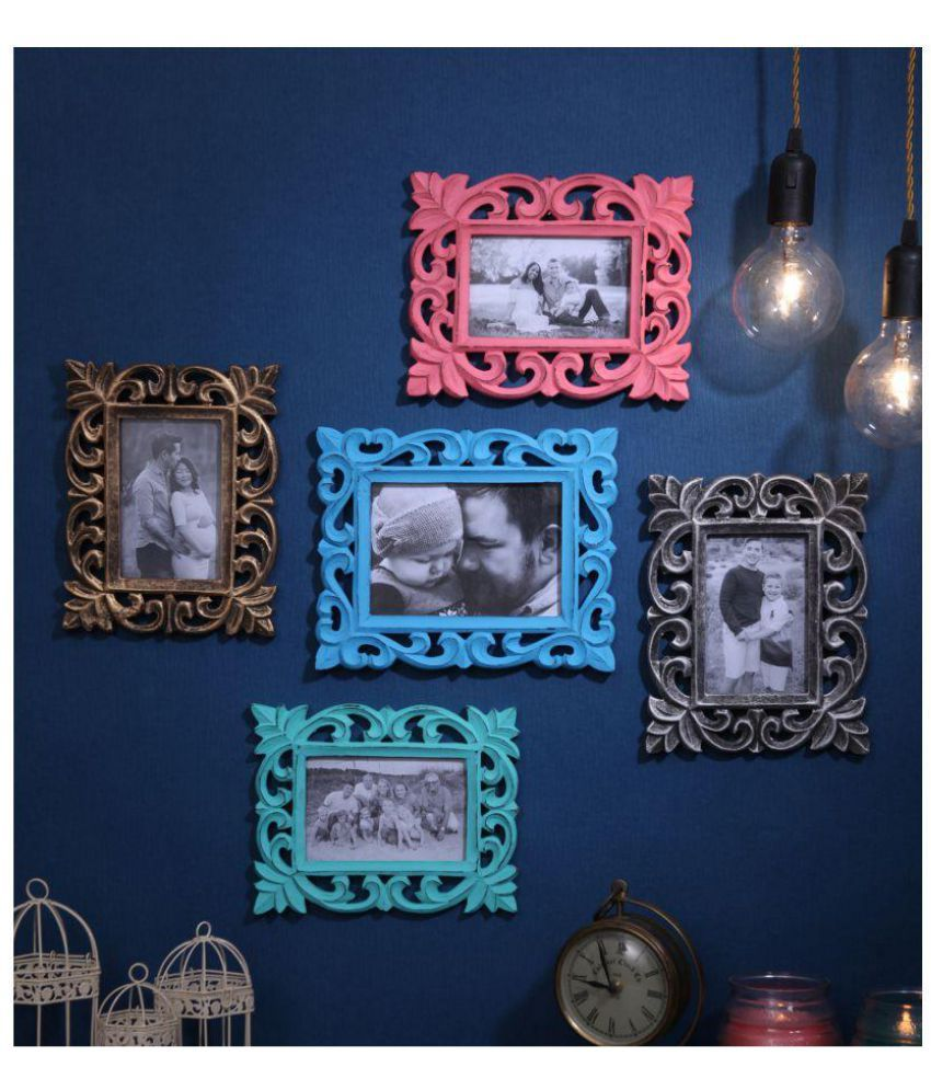 Yatha Wood Multicolour Photo Frame Sets - Pack of 5