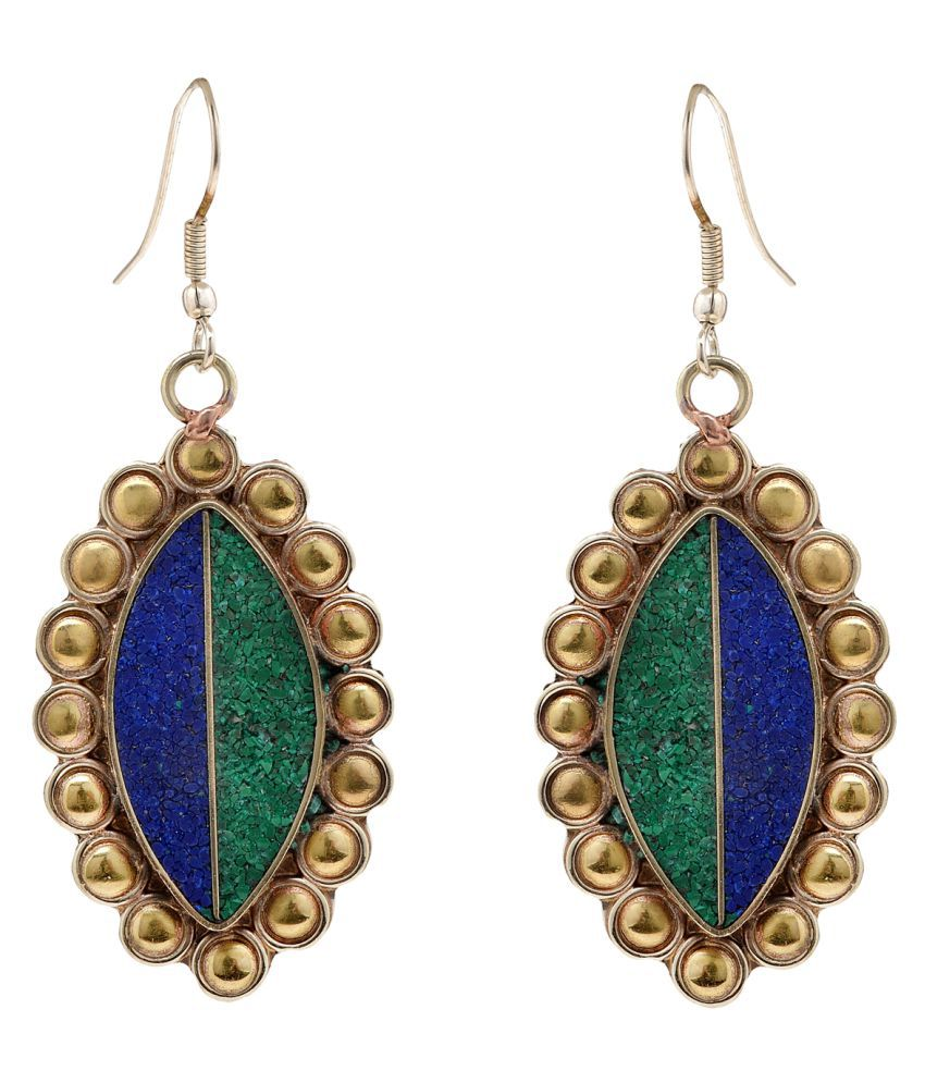 Zephyrr Fashion Earrings Green & Blue Enamel Work in Gold Tone Hook Dangler