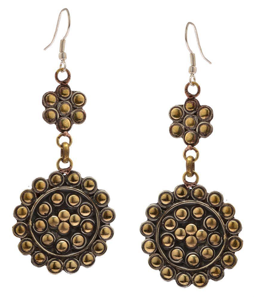 Zephyrr Fashion Gold Alloy Earrings Circular Shaped Contemporary Dangle & Drop