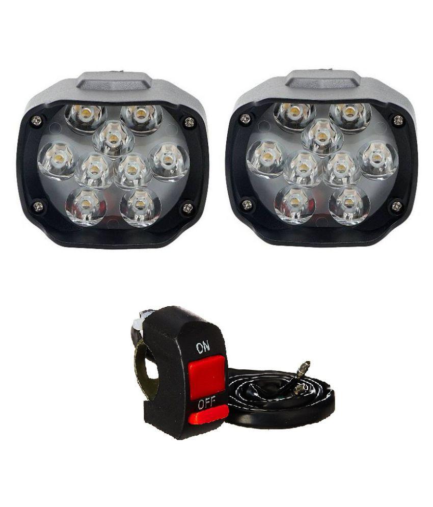 Autosky 9 LED Motorcycle Bike LED Headlight Driving Fog Spot Light Lamp (Set of 2)& On Off Switch