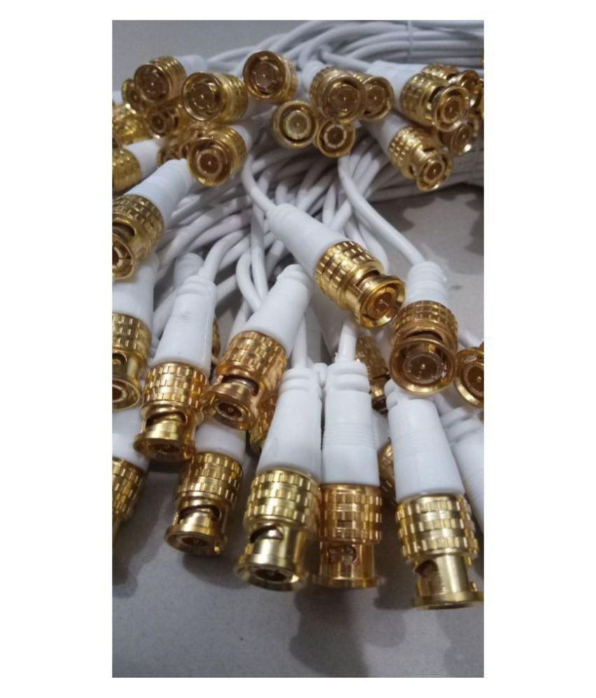 HIGH QUALITY BNC Connectors With Cable Full Copper (Gold) for CCTV Camera, [ Pack of 25 Pieces Connectors]