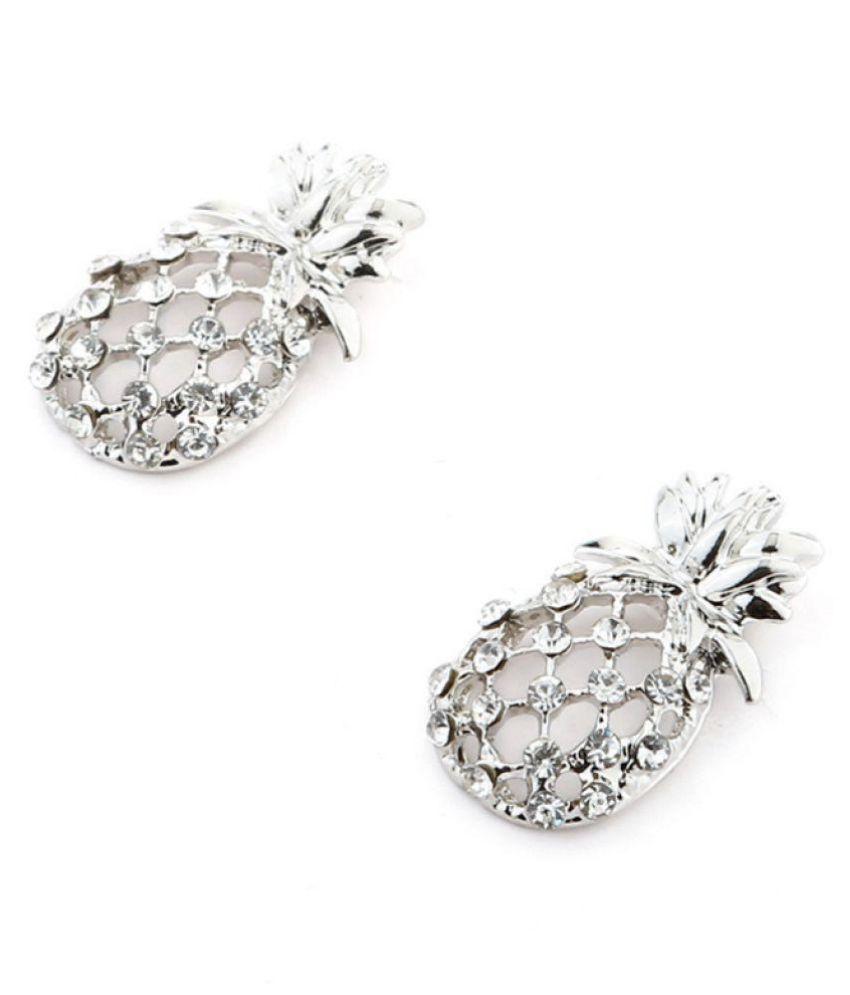 2pcs Women Fashion Silver Blue Crystal Pineapple Earrings Imitation Diamonds