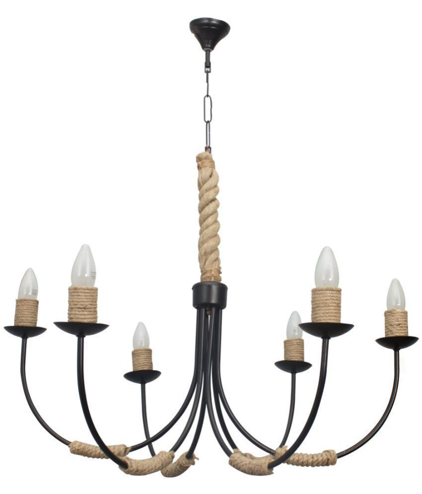 Fos lighting metal steel rope chandelier pendant black pack of 1