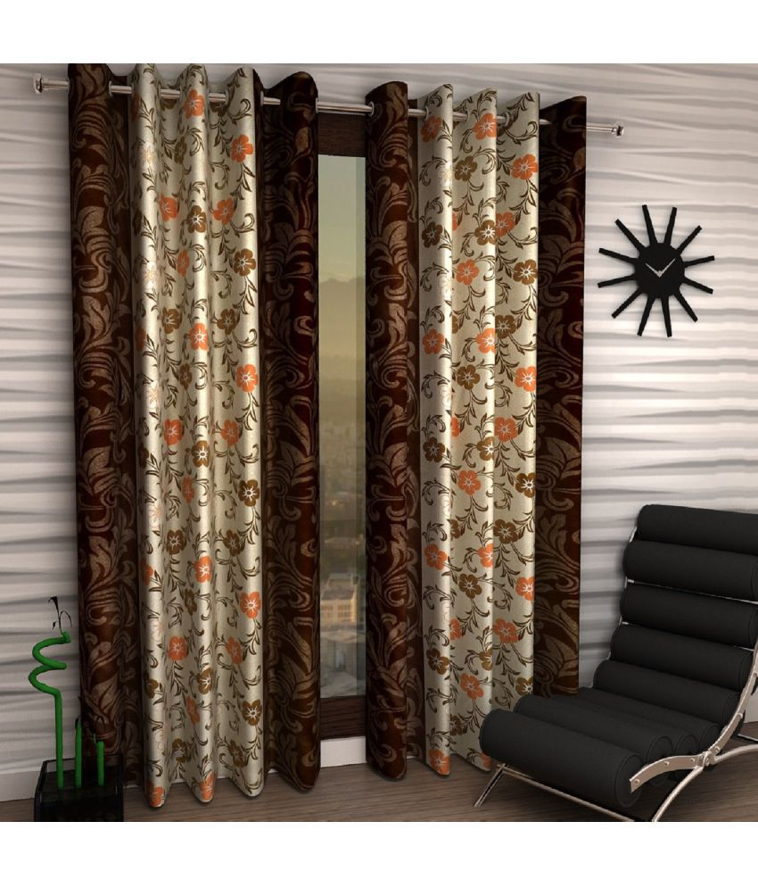 Home Sizzler Set of 2 Window Semi-Transparent Eyelet Polyester Curtains Brown