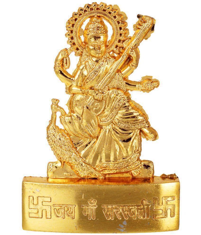 Kesar Zems Zinc Goddess Maa Saraswati Idol (7 cm x 5 cm x 0.5 cm, Gold)