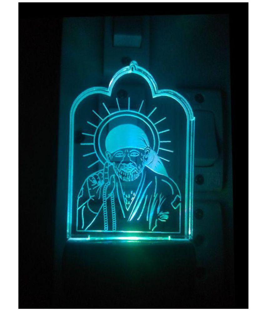 Shinde patil exports Colour changing saibaba LED Night Lamp Multi - Pack of 1