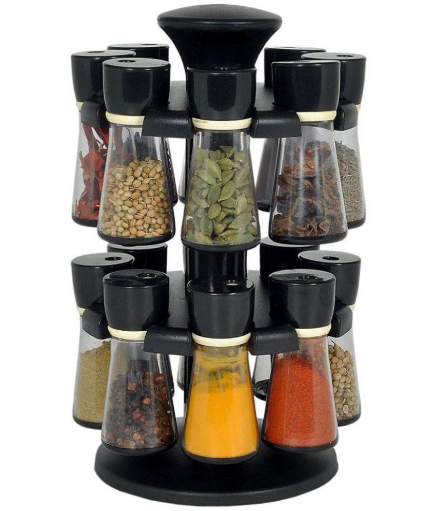 Kkart Polyproplene Black Spice Container Set of 16
