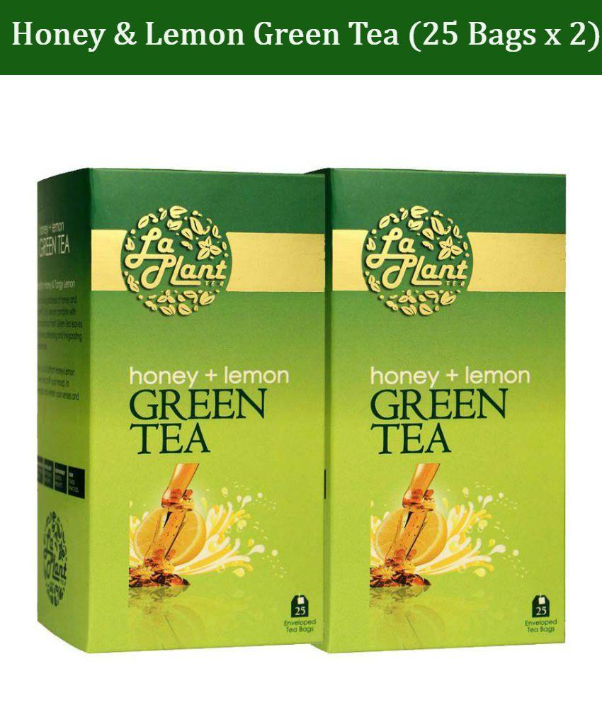 LaPlant - Honey and Lemon Green Tea, 50 Tea Bags (Pack of 2 - 25 Tea Bags Each)