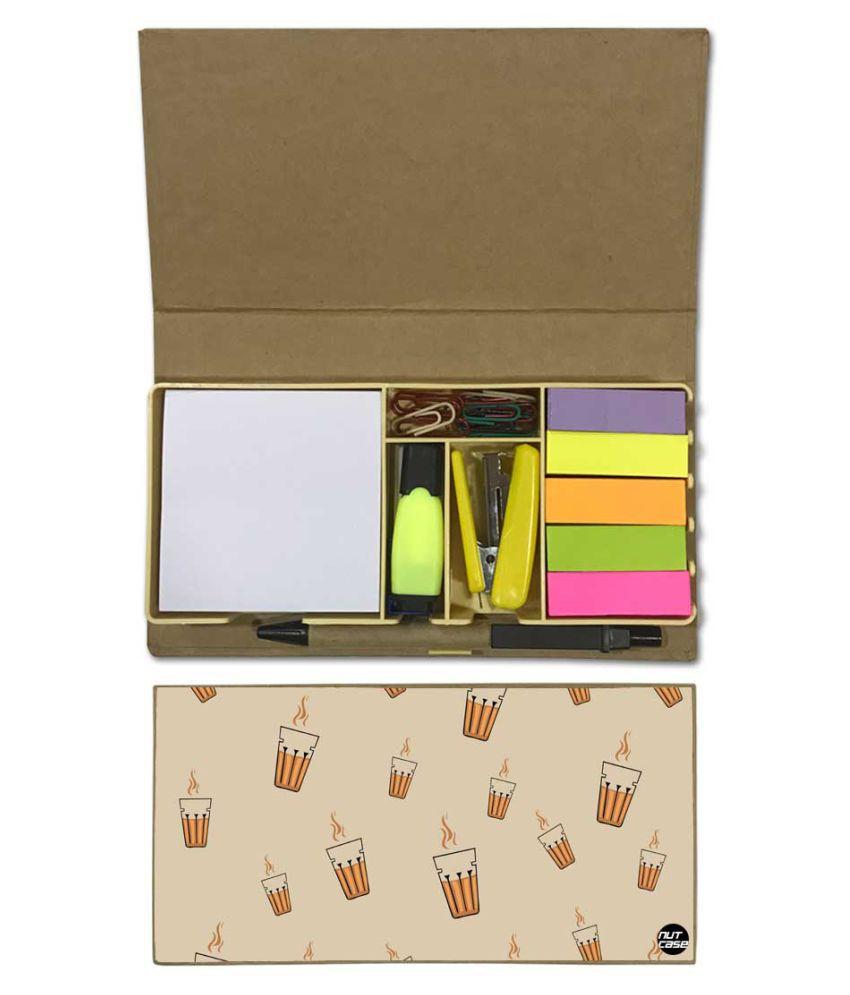 Nutcase Designer Stationary Kit Desk Customised Organizer Memo Notepad - Chai