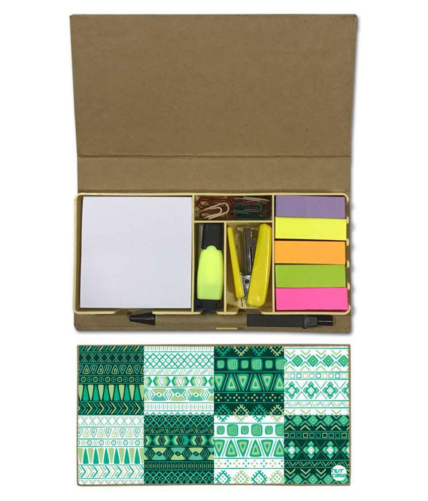 Nutcase Designer Stationary Kit Desk Customised Organizer Memo Notepad - Green Pattern