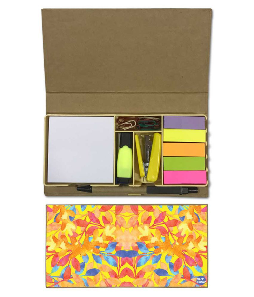 Nutcase Designer Stationary Kit Desk Customised Organizer Memo Notepad - Sunny Florals