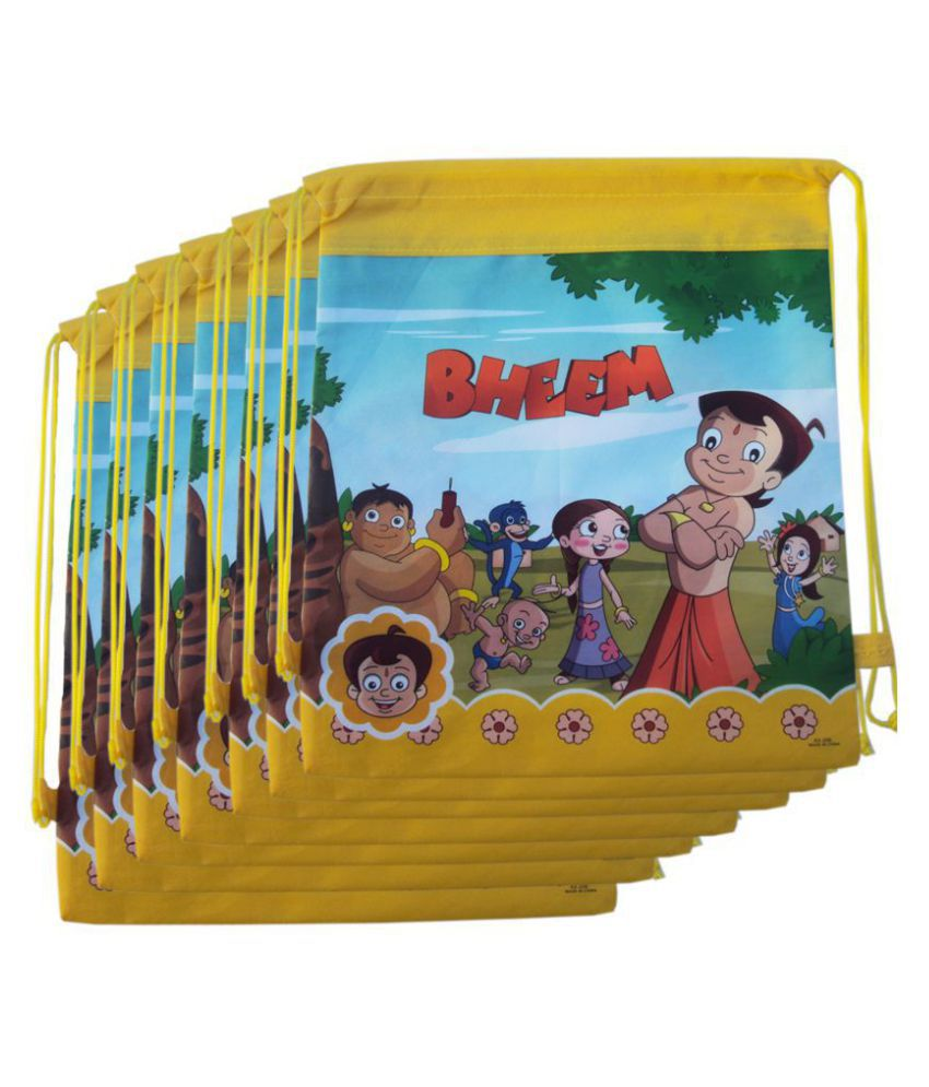 Aarvi Kids Designer Choota Bheem Character Print Dori Haversack Bag 15 Pcs Birthday Return Gift Bags