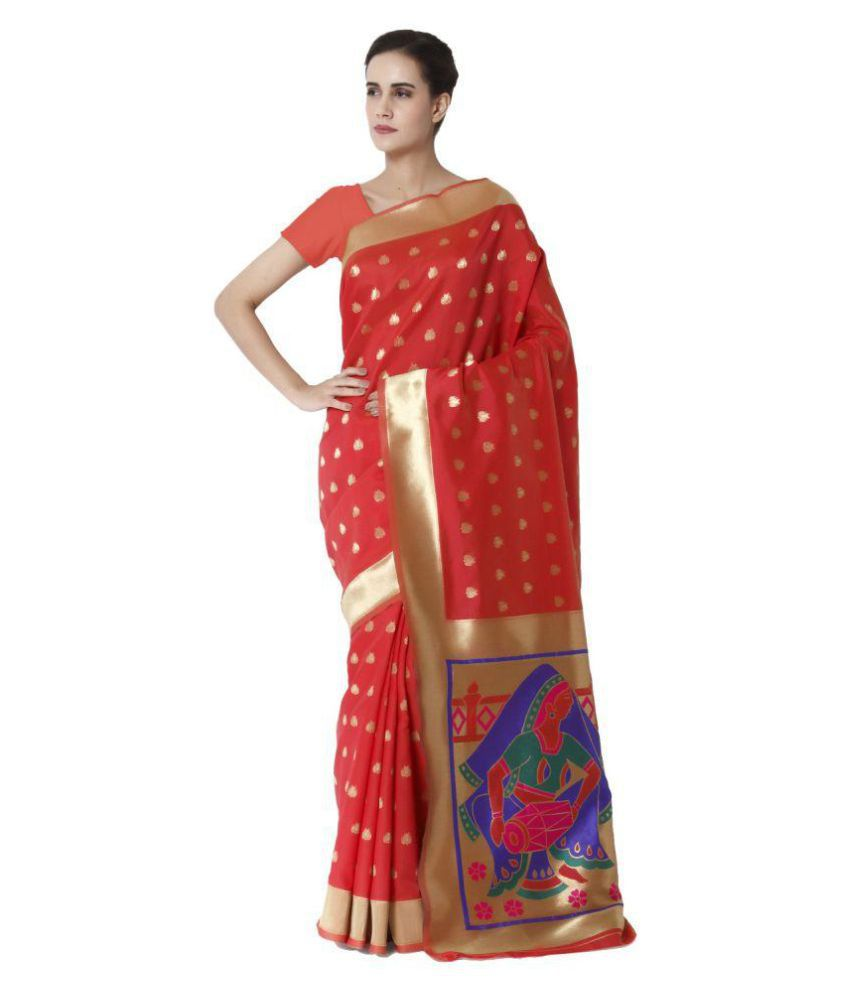 Makewayin Red and Beige Viscose Saree