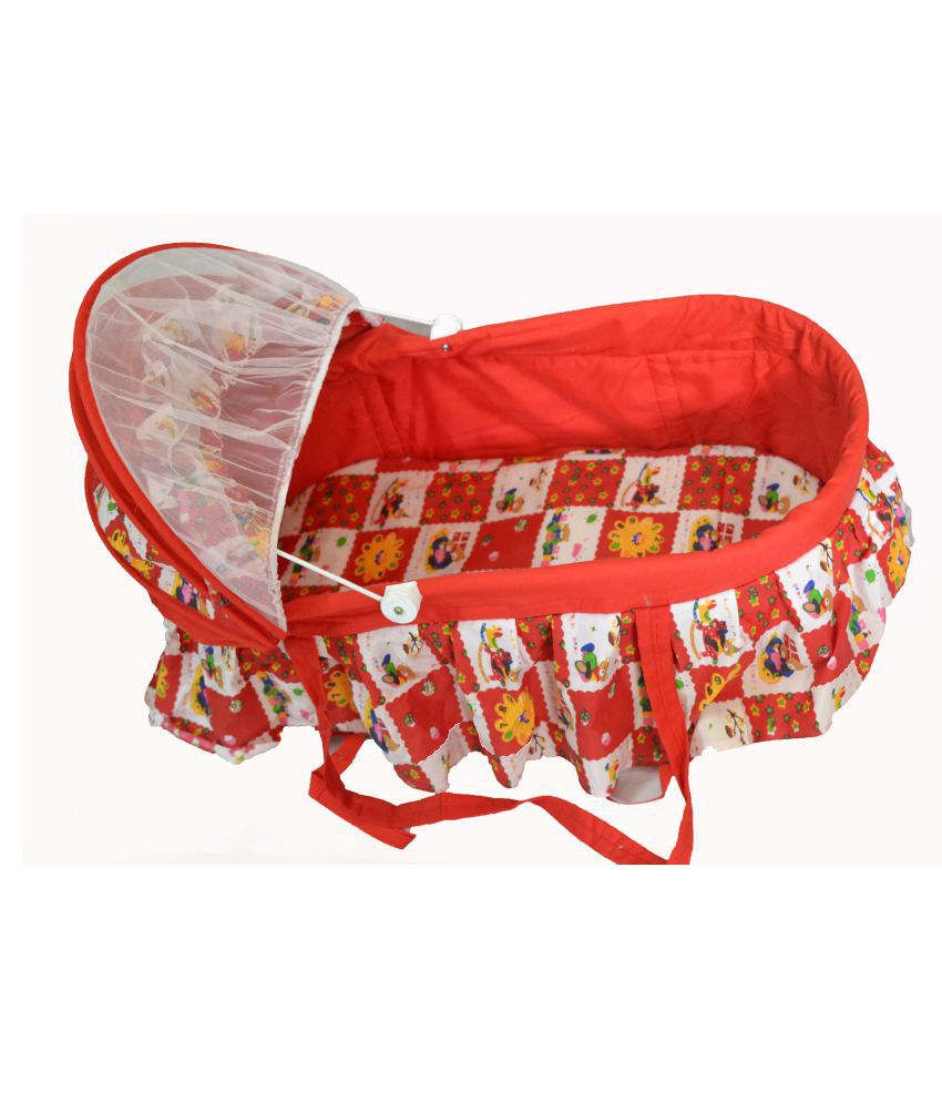 PoshTots Teddy Crib And Cradle With Swing ( Baby Jhula ) Mosquito Net And Multiple Function Bassinet with Detachable Basket and Brakes - Red