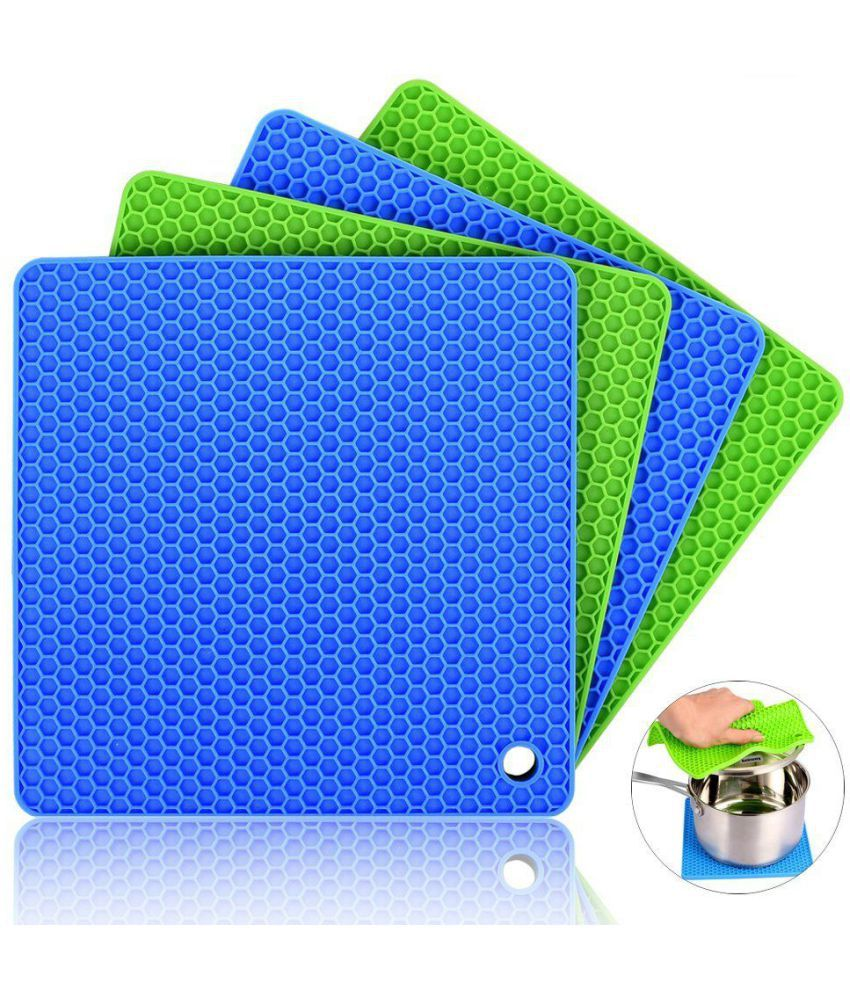 Silicone Pot Holders (Set of 4) Silicone Trivets Multi-Purpose Hot Pads Heat Resistant to 450 °F, Non-slip, Insulation, Durable, Flexible Trivet for Table Kitchen