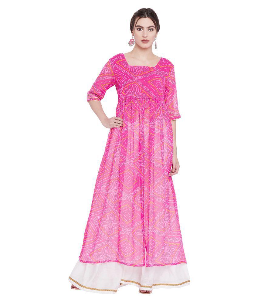 The Silhouette Store Pink Georgette Anarkali Kurti