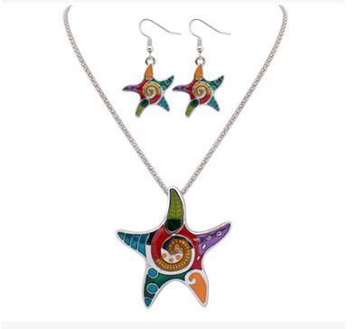 Levaso Fashion Earrings Ear Studs Alloy Necklace Pendant Jewelry Set Golden