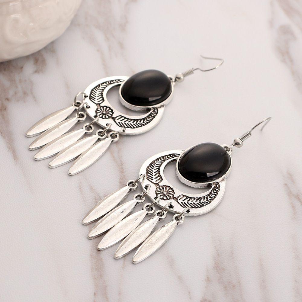 Levaso Fashion Earrings Ear Studs Alloy Bohemia National Gem Tassels Jewelry Silver