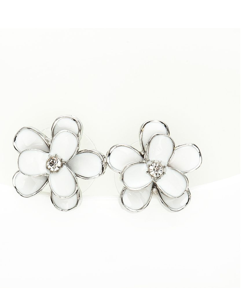 Levaso Fashion Jewelry Womens Earrings Ear Studs Alloy Floral Flower 1Pair Personality Gifts Silver