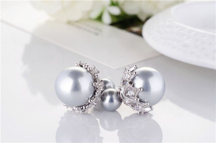 Levaso Fashion Jewelry Womens Earrings Ear Studs Alloy 1Pair Personality Gifts Gray