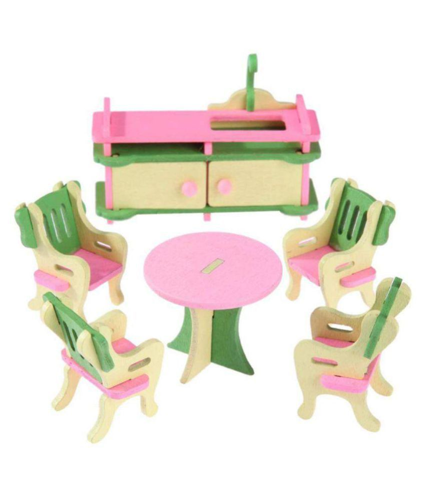 Webby Wooden Doll House Dining Room Furniture Play Set ...