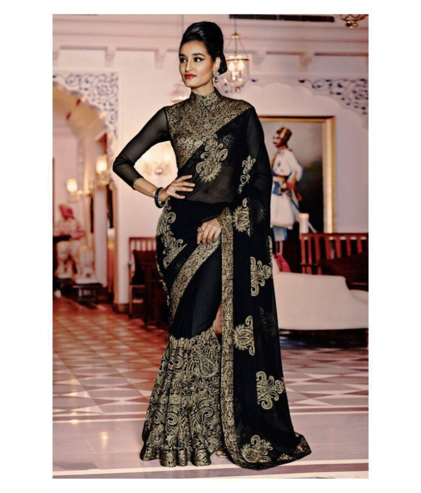 Aashvi Creation Grey Georgette Saree