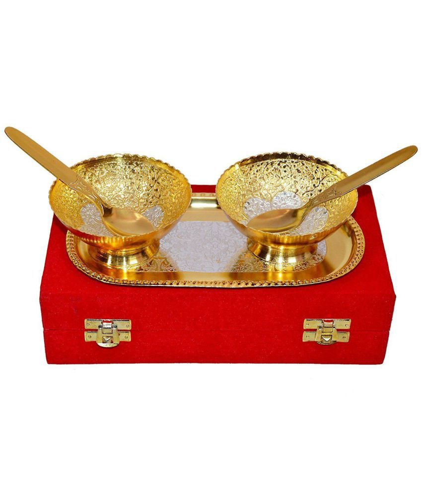 Collectible India Royal Gold Silver Plated Brass Bowl Exclusive