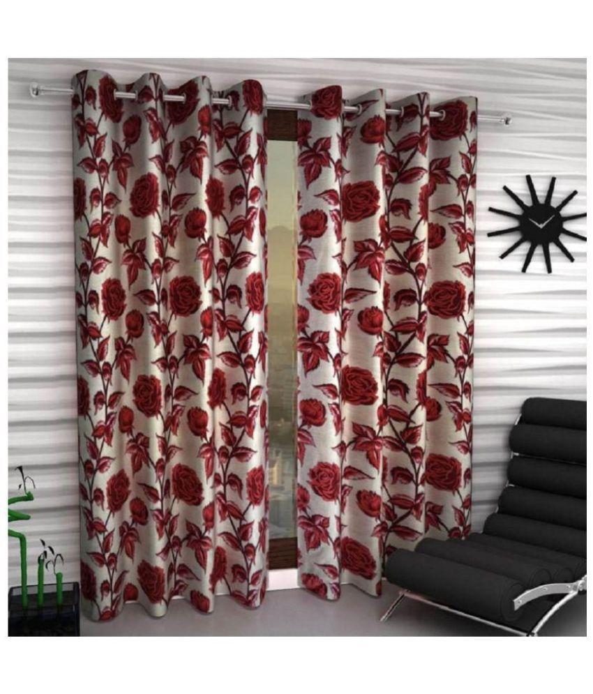 Geonature Set of 2 Window Semi-Transparent Eyelet Polyester Curtains Maroon