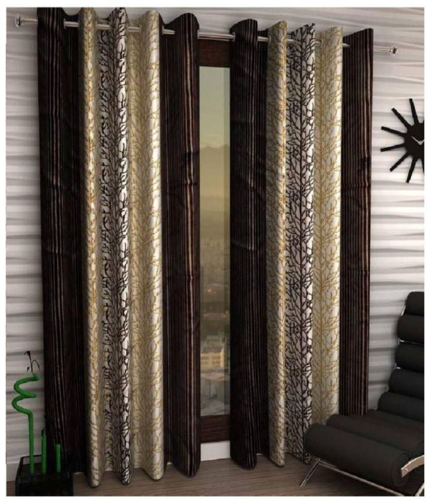 Geonature Set of 2 Window Semi-Transparent Eyelet Polyester Curtains Brown