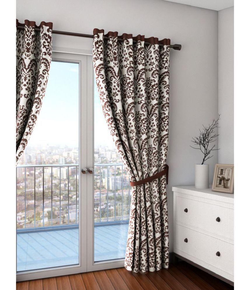 Swayam Single Long Door Semi-Transparent Eyelet Cotton Curtains Dark Brown